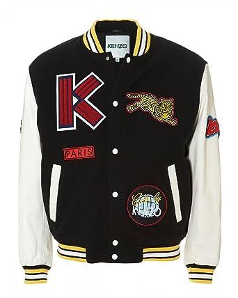 0db86e5a9 Kenzo Mens Patchwork Varsity Jacket, Black White Logo Bomber Jacket Size M