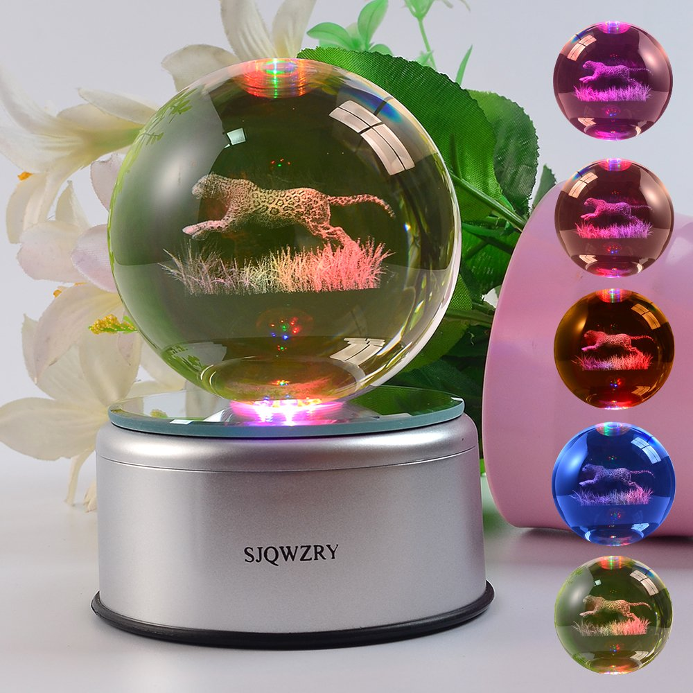 3D Illusion Crystal Night Lighting 7 Color Change Decor LED Lamp with Rotate the Base-Cheetah