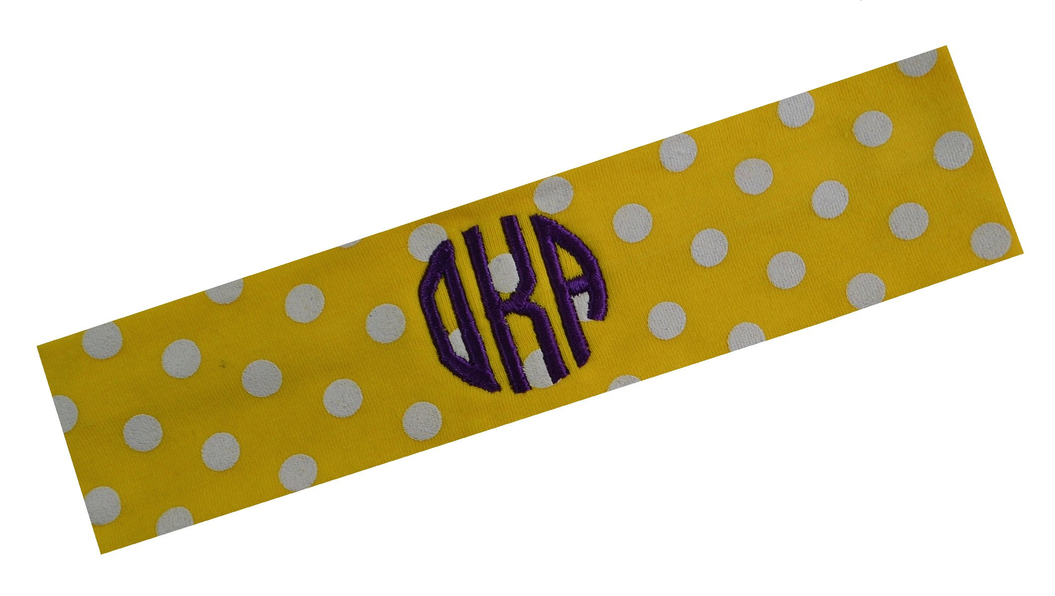 Personalized Monogrammed POLKA DOT Cotton Stretch Headband By Funny Girl Designs (2.5 INCH WIDE HEADBAND)