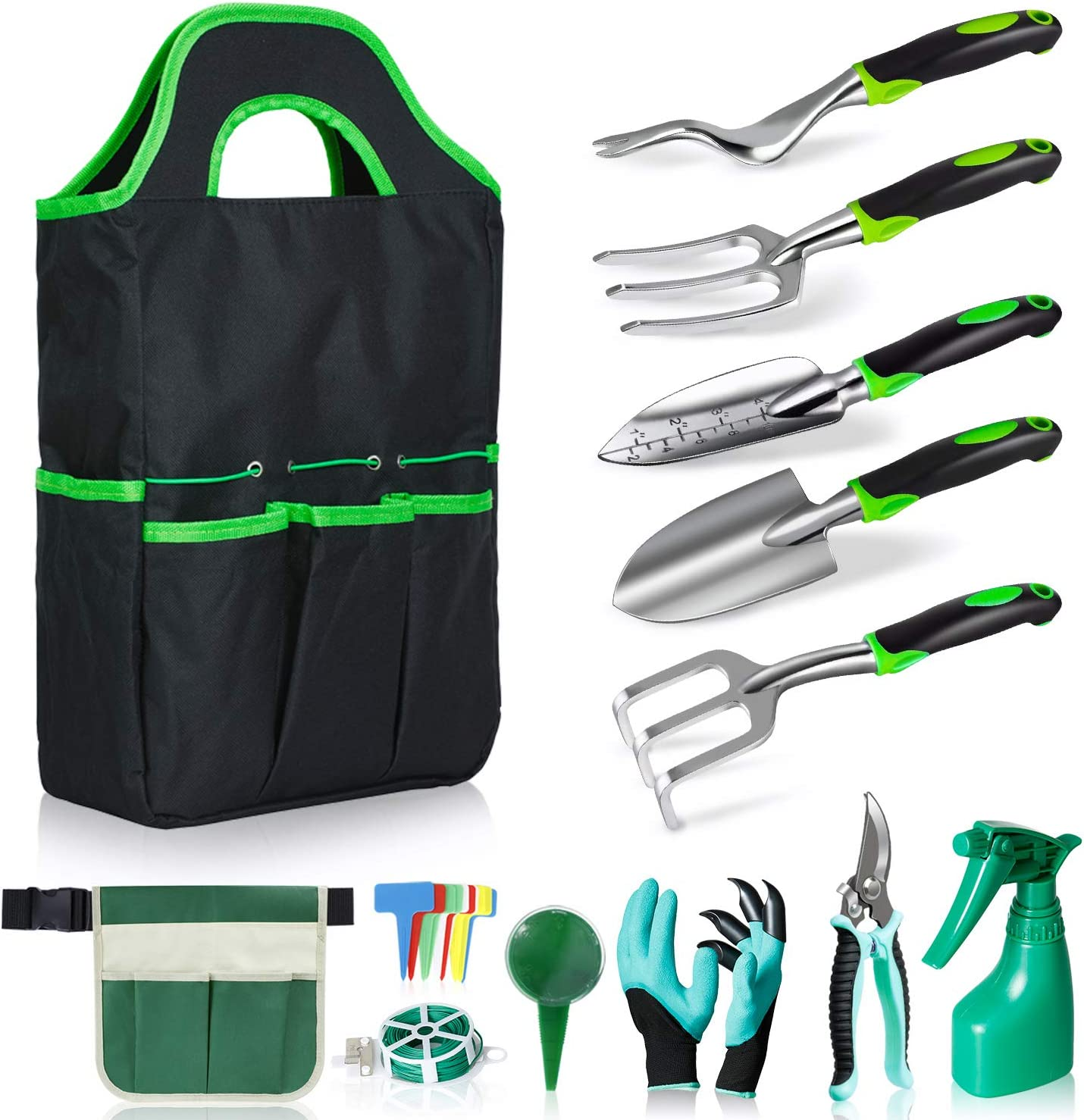 Tmalltide Garden Tools Set, 18 pcs Perfect Gardening Tools Gift for Women, with Garden Tool Belt and Standable Tote