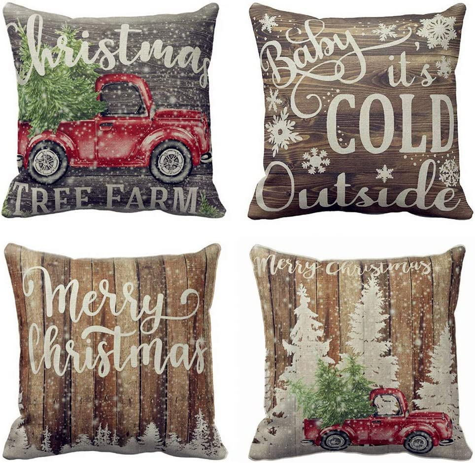 """Hopyeer 4Pack Vintage Wood Merry Christmas Red Truck Winter Snowflake Pillow Covers Xmas Tree Farm Decor Cotton Linen Throw Pillowcase Cold Quote Words Home Sofa Cushion Cover 18""""x18"""" (VW-Truck)"""