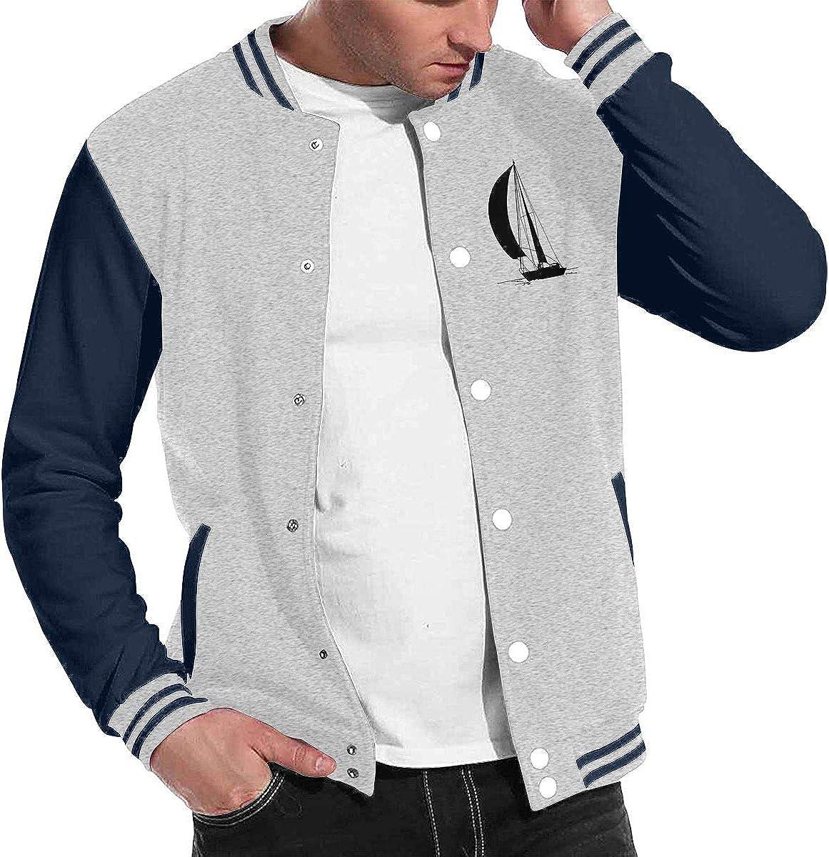 Silhouette of Sailboat Mens Cool Baseball Uniform Jacket Sport Coat