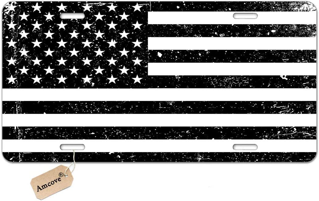 Amcove License Plate Grunge American Flag USA Flag Black and White Patriotic Decorative Car Front License Plate,Vanity Tag,Metal Car Plate,Aluminum Novelty License Plate,6 X 12 Inch