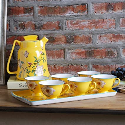 LFHKP Europea Creativa cerámica fría Botella de Agua hogar Gran Capacidad té Fruta Tetera Conjunto Alta