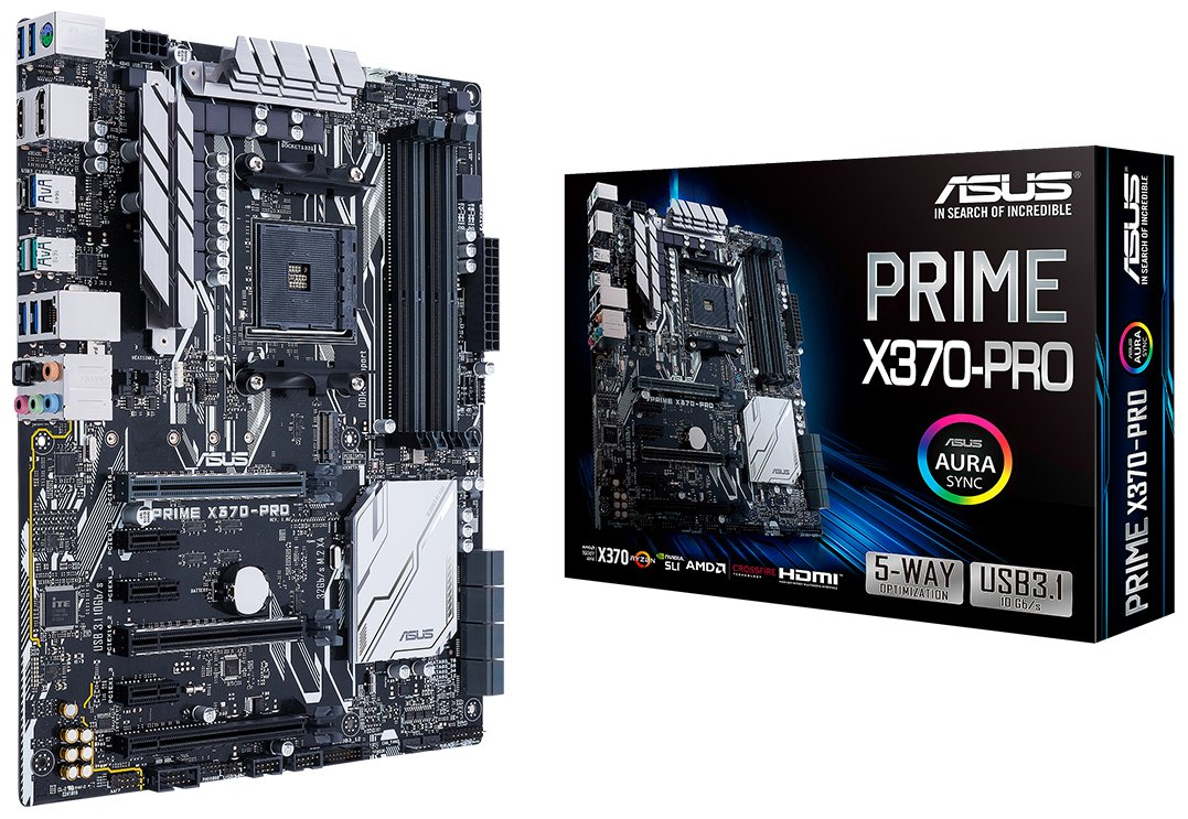 ASUS Prime X370-Pro AMD Ryzen AM4 DDR4 DP HDMI M.2 USB 3.1 ATX X370 Motherboard with AURA Sync RGB Lighting by Asus