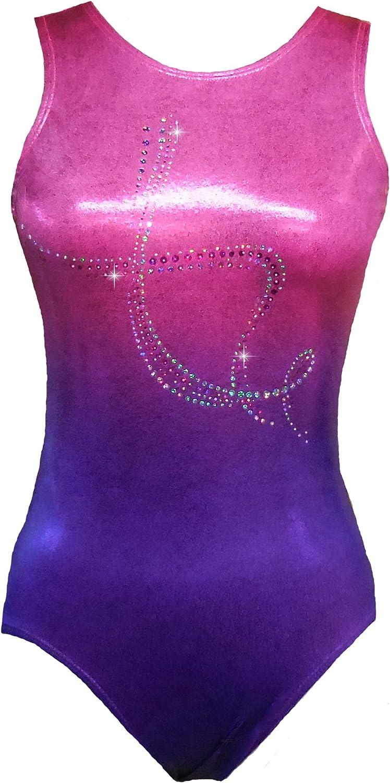Elegant Velvet Girls Gymnastics Leotard Snake /& Deep Purple Dance Ballet