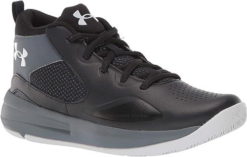 //Black Under Armour Unisex-Kids Pre School Lockdown 4 Basketball Shoe Pitch Gray 100 3.5