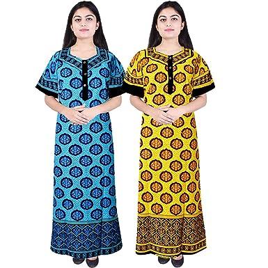 1f155caeb3 Silver Organisation Women s Cotton Long Jaipuri Print Maxi Night Dress  (Multicolour