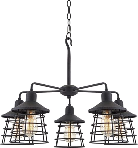 Kira Home Rowan 26″ 5-Light Rustic Farmhouse Chandelier Metal Cage Shade