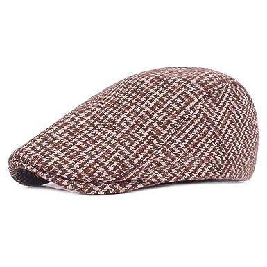 c4353ec2f84 Autumn Winter Classic Lattice Cotton Flat Plaid Beret Hats Men Women Cabbie  lvy Newsboys Caps