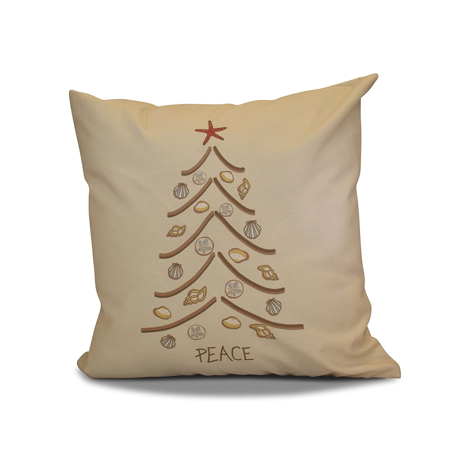 E by design 16 x 16 inch, Decorative Holiday Pillow, Geometric Print, Beige