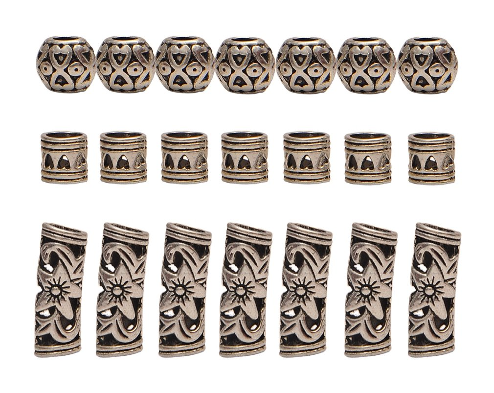 Teemico 30 Pieces Retro Tibet Silver Alloy Ribs Beads for Bracelet Jewelry Making Dreadlocks Tube Braiding Hair Decoration Accessories Teemico US