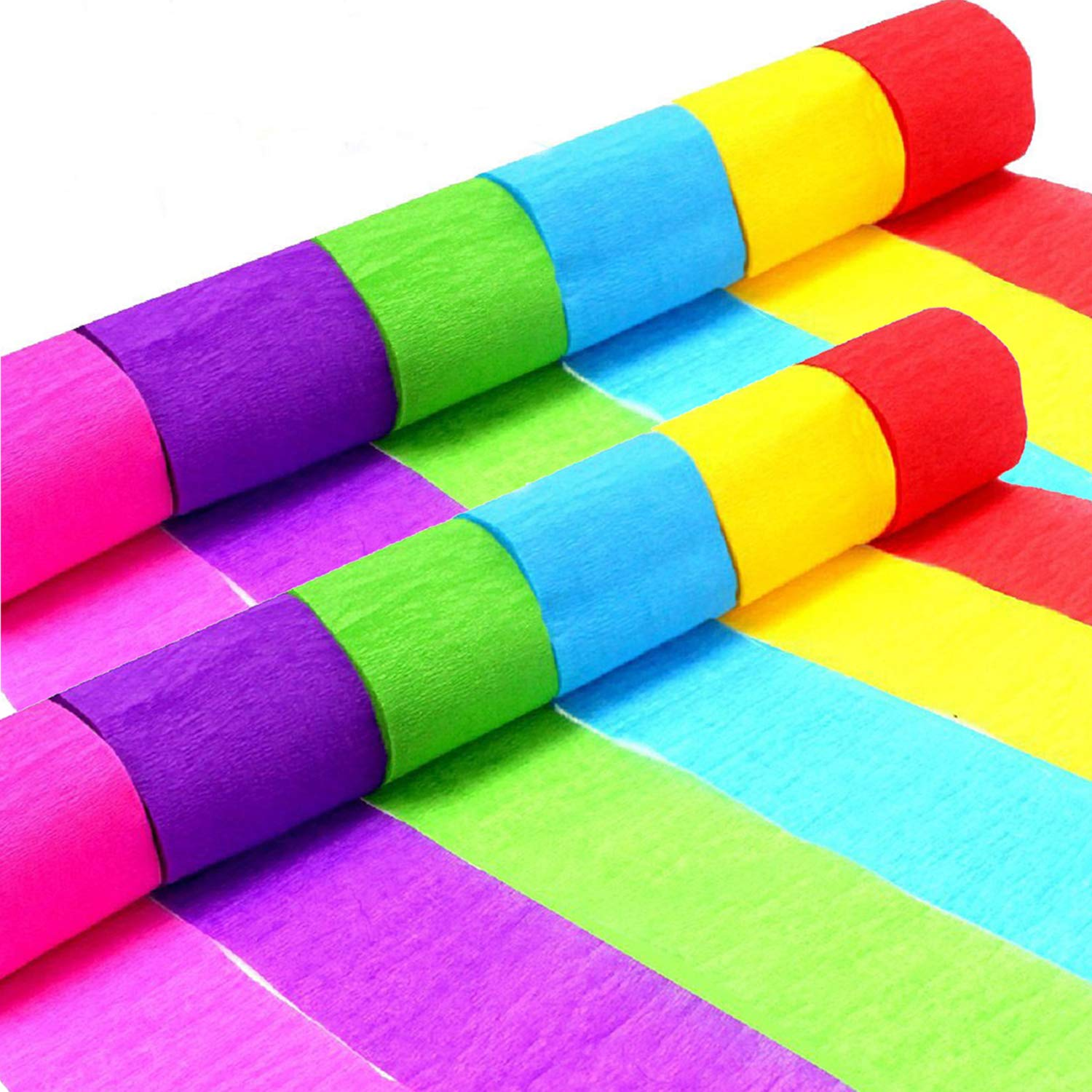 Crepe Paper Rolls, 12 Party Streamers Paper Rolls 6 Colours for Home DIY Birthday, Wedding, Baby Shower, Christmas, Class Party Graduation Ceremony Decorations Eholder