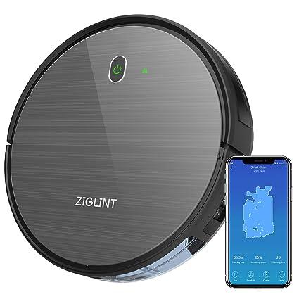 ZIGLINT Robot Aspirador Fregasuelos Control APP & Remoto, Navegación Inteligente Mapeo, Compatible con Alexa & Google Home para Pelo de Mascotas, ...