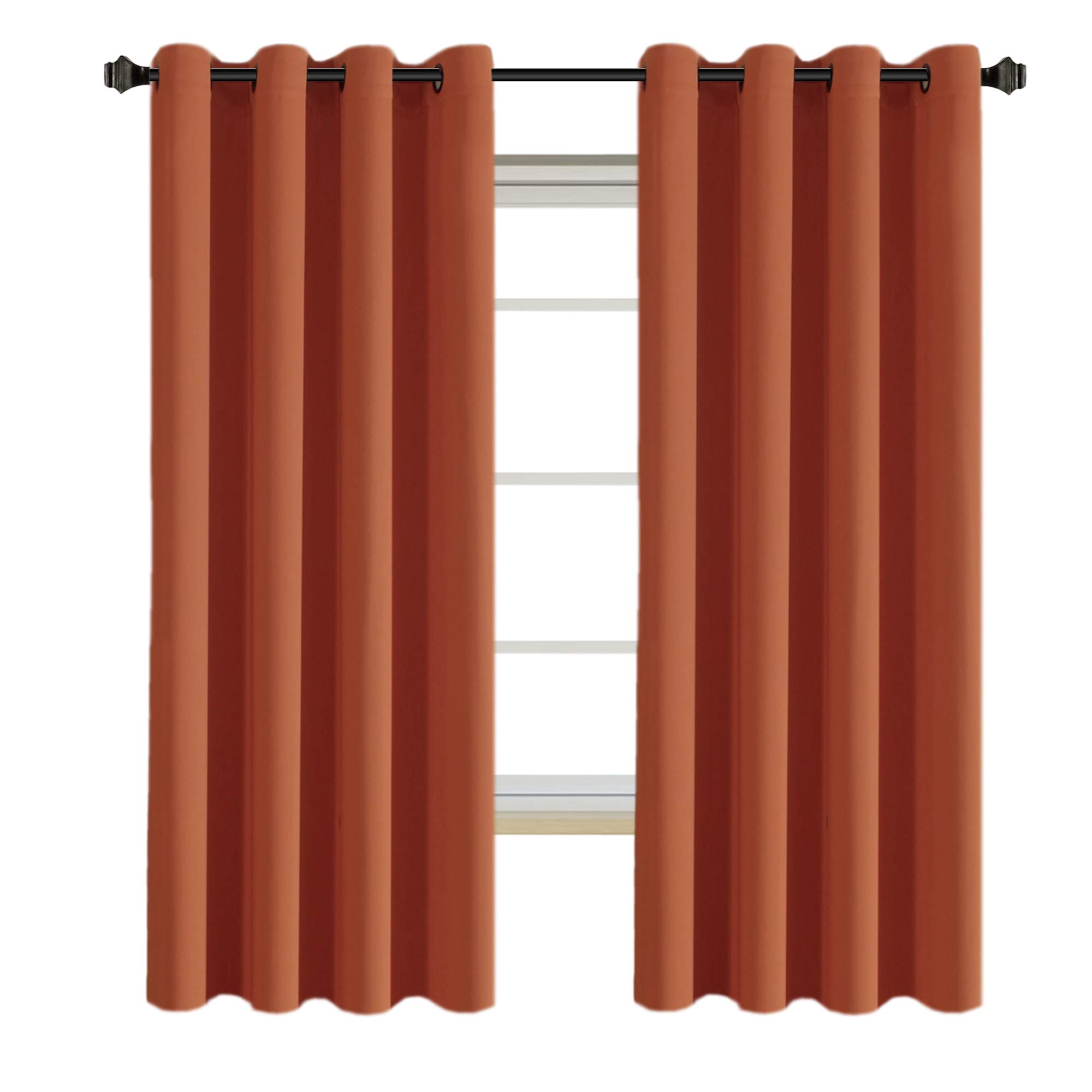 H.VERSAILTEX Solid Thermal Insulated Grommet Blackout Window Curtain Panels for Nursery & Infant Care - Burnt Orange - 52'' W x 72'' L - Set of 2 Panels