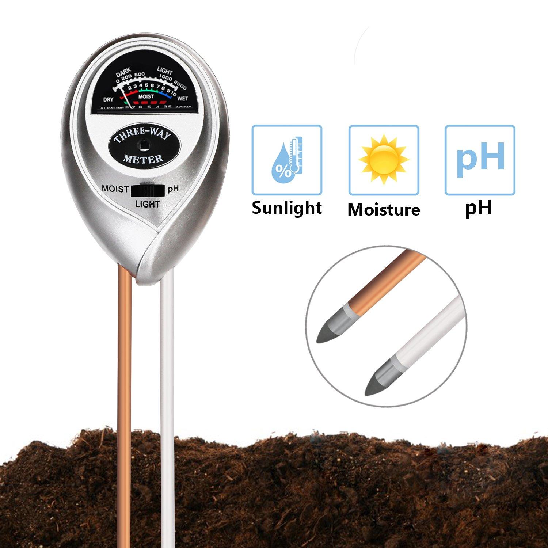 3 in 1 Soil pH Tester - Jellas Moisture pH Meter for Home Garden - Silver