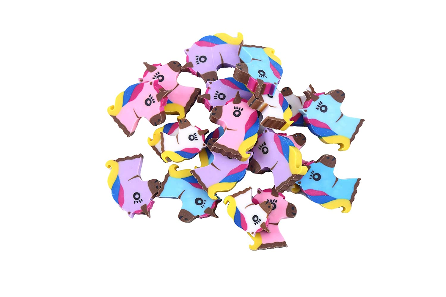 LOKIPA 20pcs Unicorn Rubber Erasers for Kids Party Bag Filler and Student Rewards