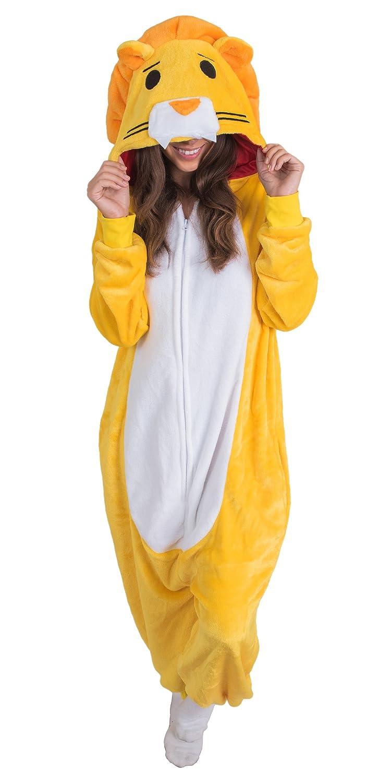 21213e6ed36e Amazon.com  Adult Onesie Lion Animal Pajamas Comfortable Costume with  Zipper and Pockets  Clothing