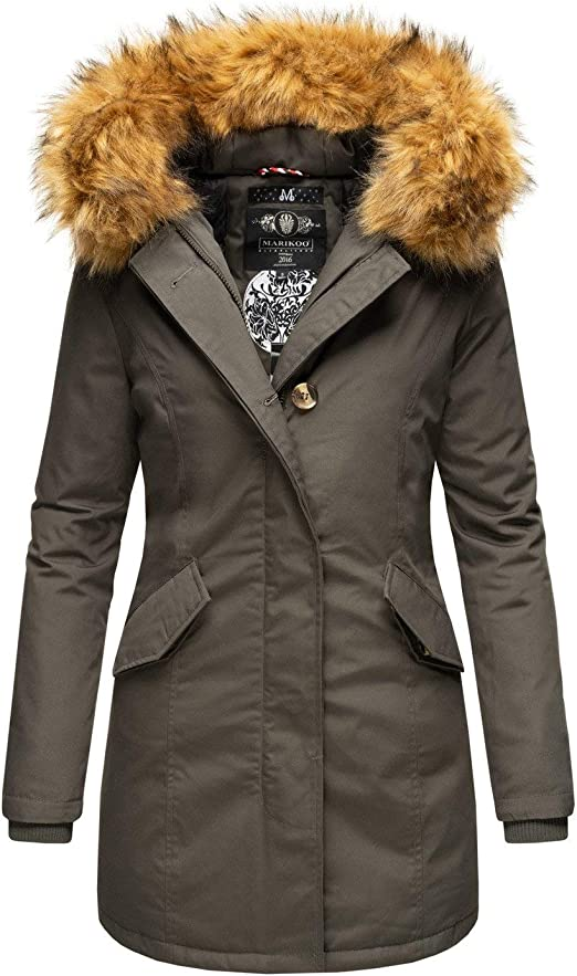 Marikoo Damen Winter Jacke Parka Mantel Winterjacke warm