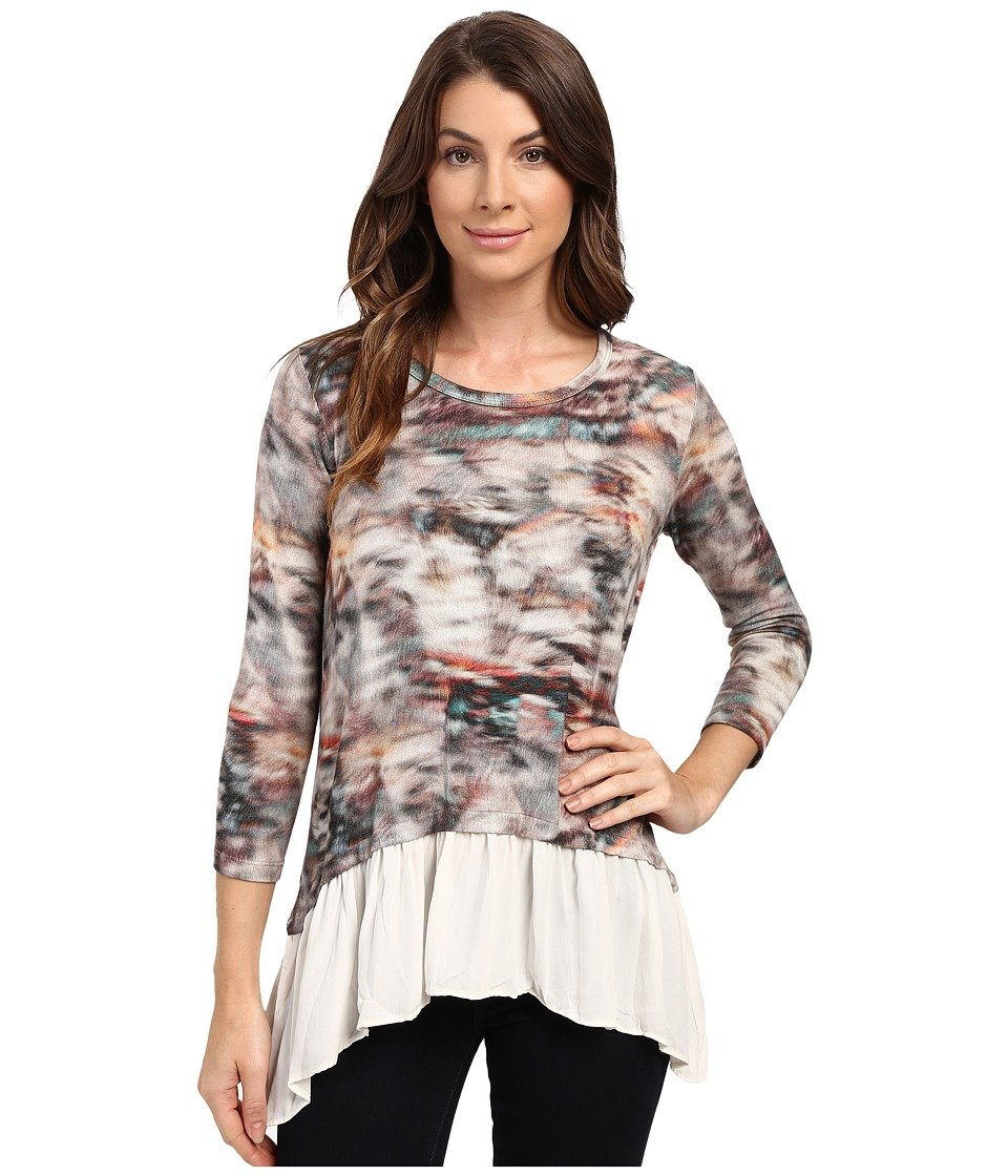 Karen Kane Printed Peplum Top in Multicolored Print