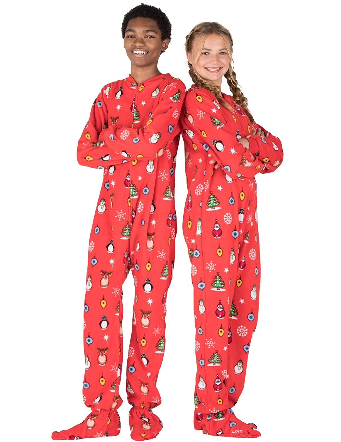 Footed Pajamas - Holly Jolly Christmas Kids Fleece Onesie FL-156-K-XSMALL 4f0039dcb