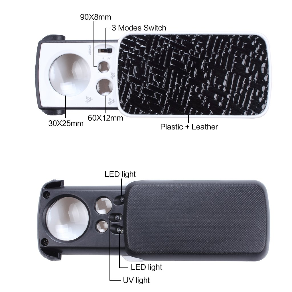 Diamonds Stamps 30X 60X 90X LED Lighted Slide Out Portable Loupe Magnifier with UV Black Light,Best for Jewelry Coins Gems Rocks Silver Ewinever Pocket Magnifying Glass