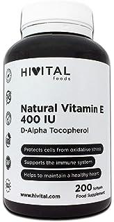 Vitamina E Natural 400 UI | 200 perlas, (Más de 6 meses de suministro) | Potente antioxidante que…