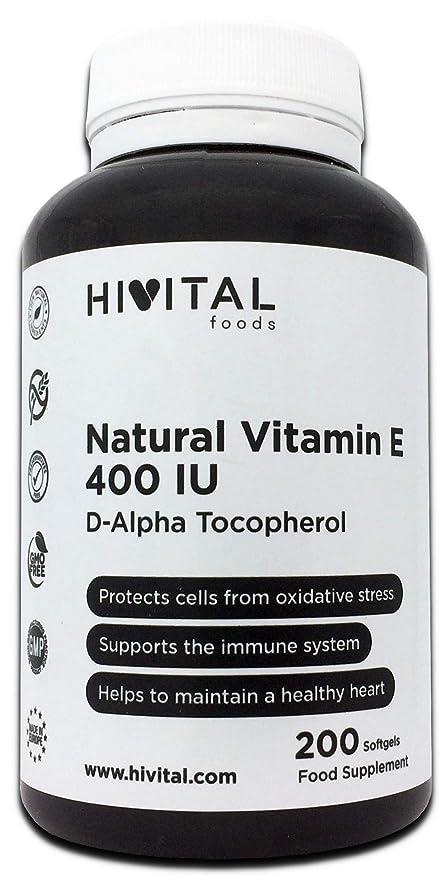 Vitamina E Natural 400 UI | 200 perlas, (Más de 6 meses de suministro) | Potente ...
