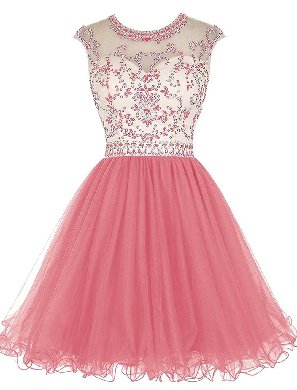 Watermelon Caissen Women's Short Beaded Sheer Crew Neck Rhinestones Tulle Prom Dress Open Back with Zipper Party Wear Ball Gown