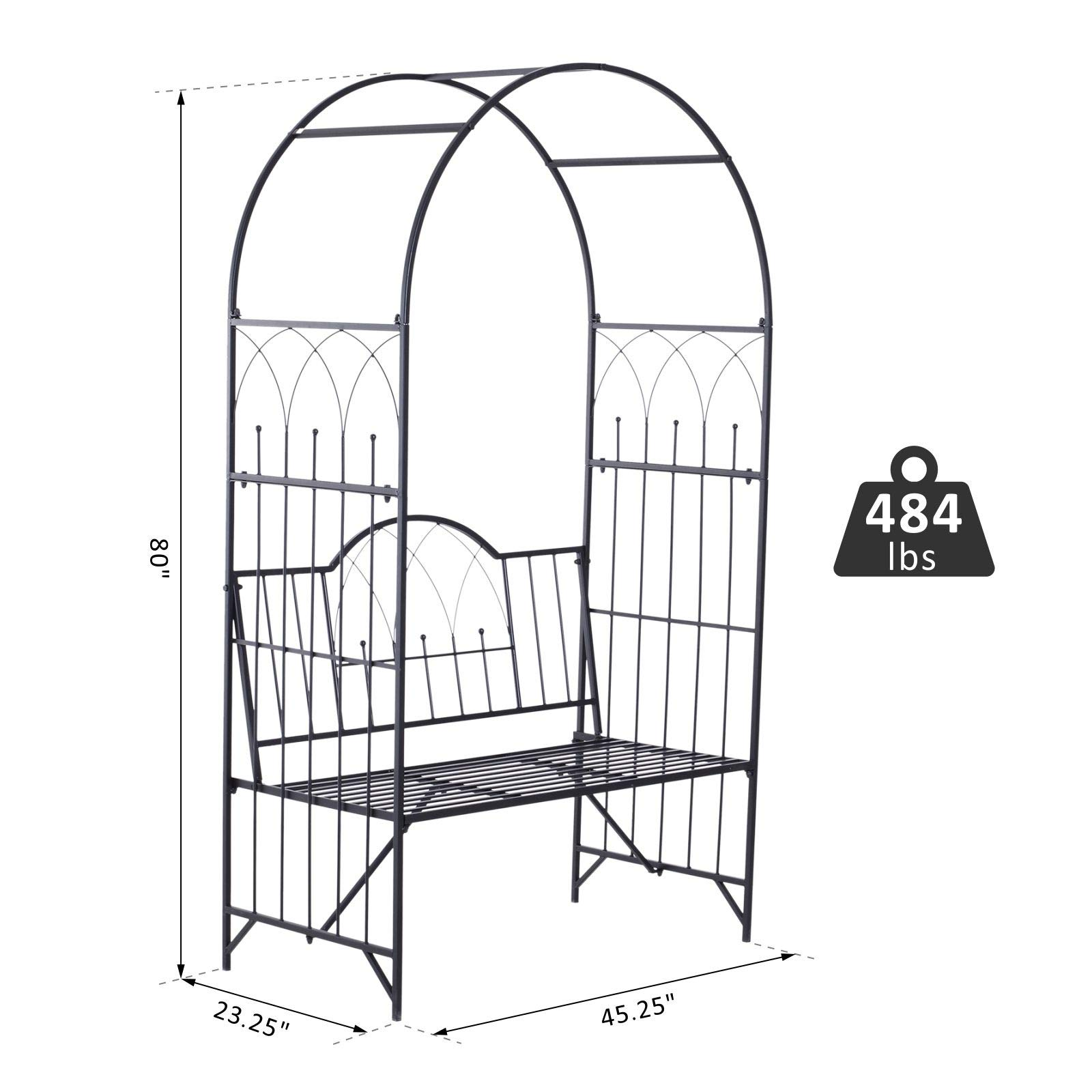 Outsunny Outdoor Garden Arbor Arch Steel Metal with Bench Seat - Black by Outsunny (Image #7)