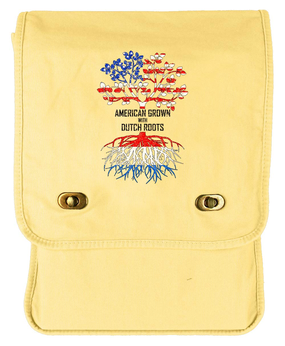 Netherlands Khaki Green Raw Edge Canvas Messenger Bag Tenacitee American Grown with Dutch Roots