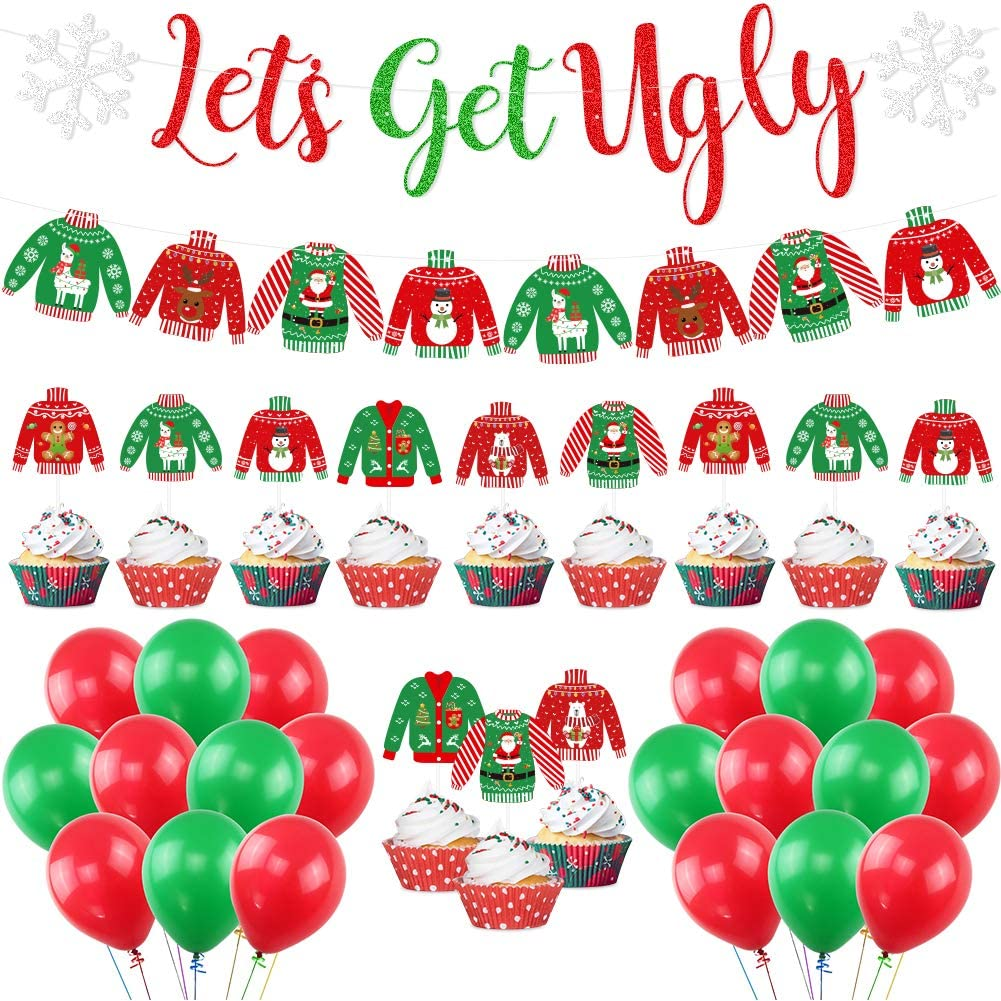 Ugly Christmas Sweater Party Banner-Let's Get Ugly Banner Ugly Sweater Balloons Christmas Ugly Sweater Party Decor Supplies Christmas Party Decorations Kit
