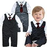Milanao - Traje de fiesta para bebé gris Talla:N070:0-6Months