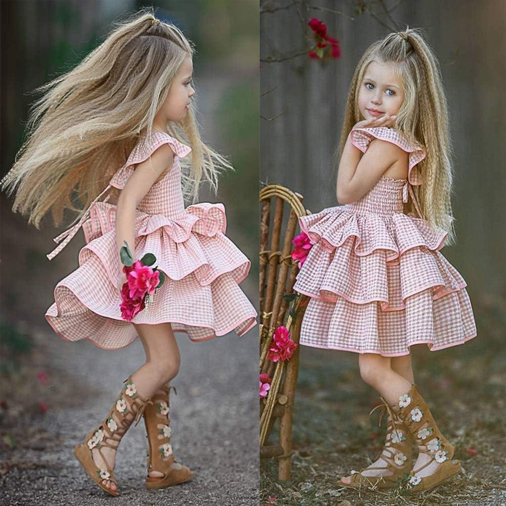 Newborn Kids Baby Girl Dress Tutu Sleeveless Ruffled Plaid Straps Dress Princess Party Dress Clothes