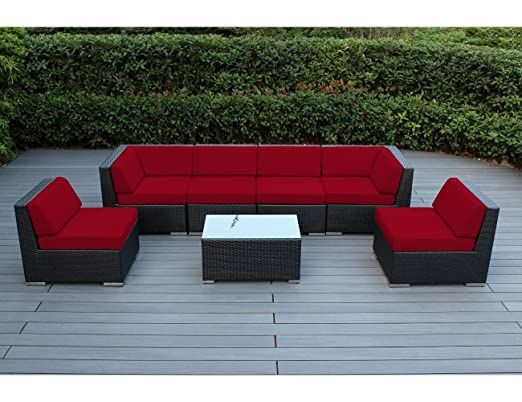 Genuine Ohana Outdoor Sectional Sofa and Chaise Lounge Set (9 Pc Set) with Free Patio Cover (sunbrella red)