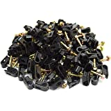 Best Connections 100 pcs Single Black Mounting Flex Clips w/Strain Relief Screw RG6 RG59