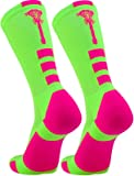 TCK Sports Lacrosse Logo Crew Socks (Neon Green/Hot Pink, Medium)