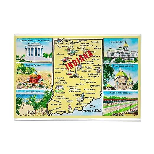 CafePress - de felicitación - Indiana mapa rectangular imán, 2