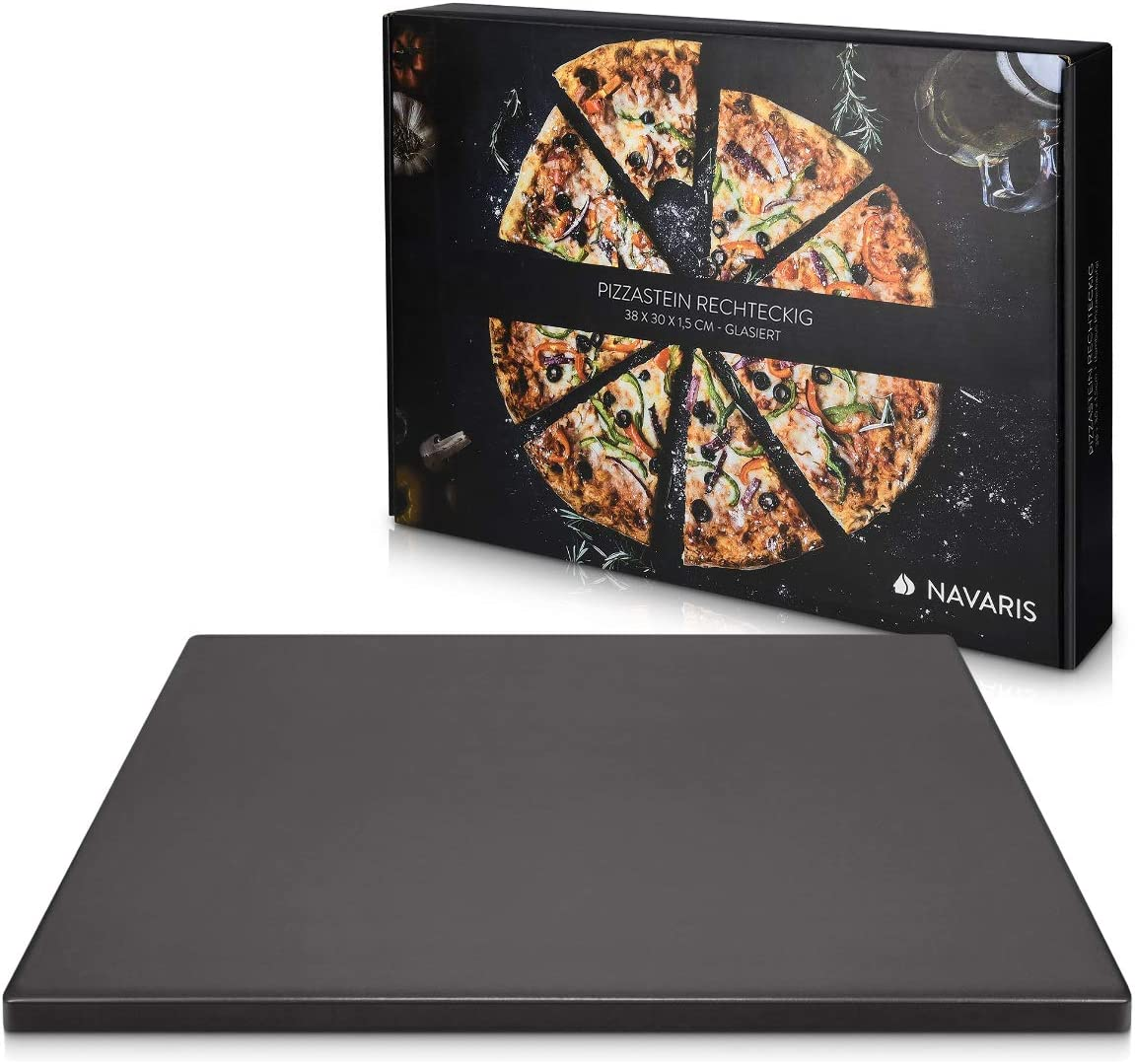 "Navaris XL Pizza Stone for Baking - Glazed Square Cordierite Stone Plate for BBQ Grill Oven - Cook, Serve Pizza Bread Cheese - 15"" x 11.8"" x 0.6"""