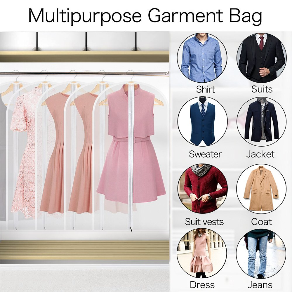 Garment Bags, Pretty Handy Set Of 5 Breathable Suit Covers Storage Bag With  Full Zipper, Closet ...
