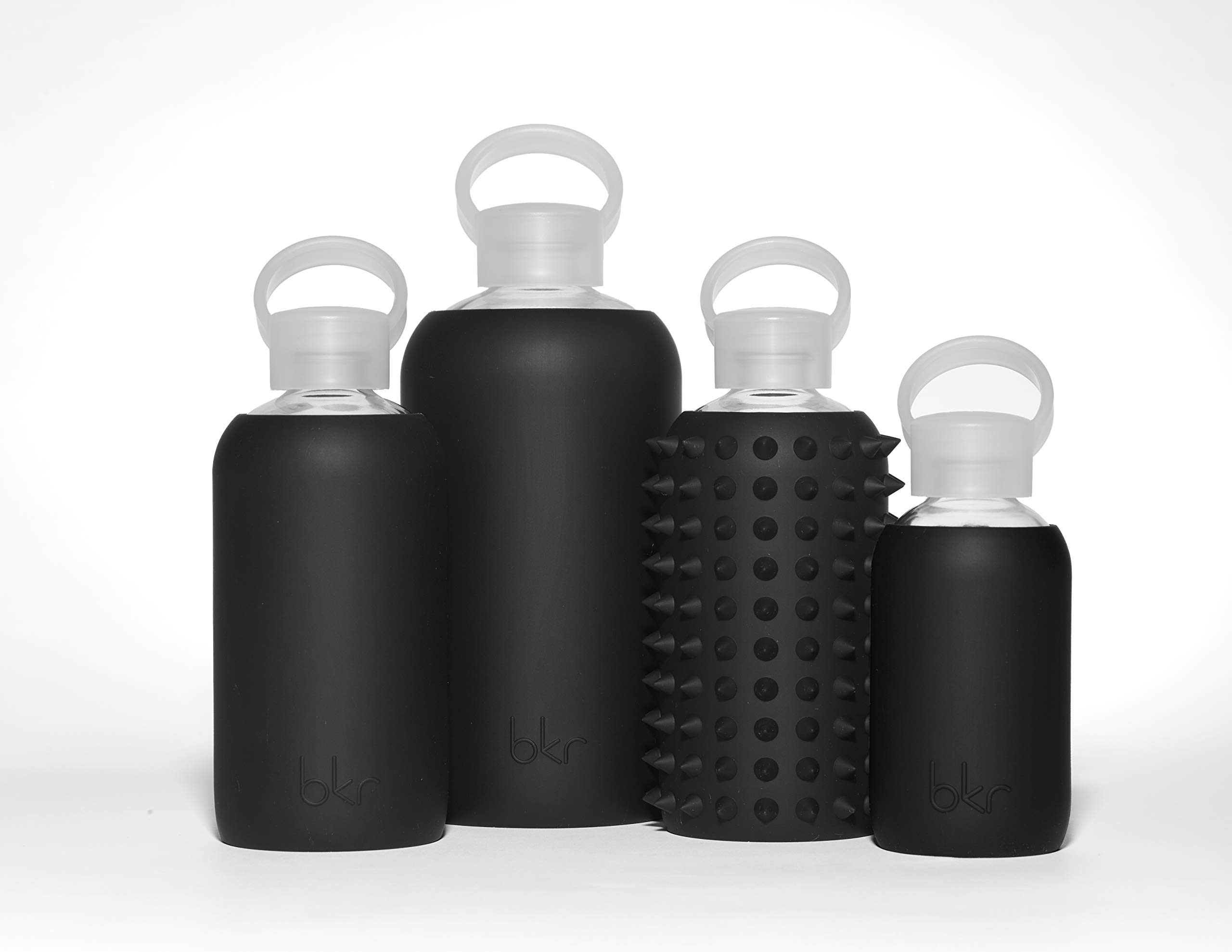 bkr Jet Glass Water Bottle with Smooth Silicone Sleeve for Travel, Narrow Mouth, BPA-Free & Dishwasher Safe, Opaque Black, 16 oz / 500 mL by bkr (Image #7)