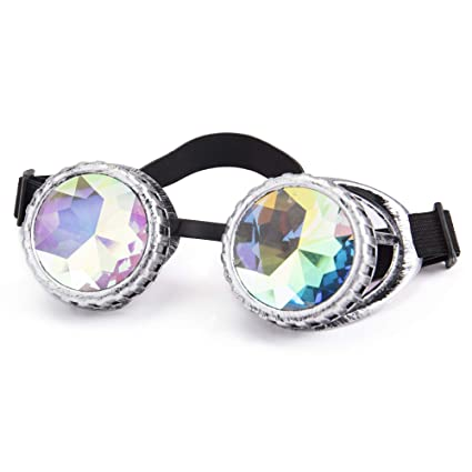 bc6da4557c37 Amazon.com  Focussexy Vintage Steampunk Goggles Kaleidoscope Retro Glasses  Crystal Lenses for Rave Cosplay Halloween  Arts