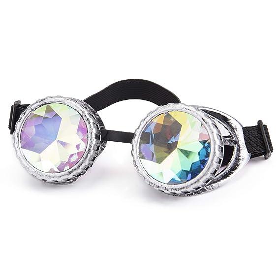 e6fbb9cd87f Image Unavailable. Lelinta Steampunk Kaleidoscope Goggles Rave Glasses  Rainbow Crystal ...