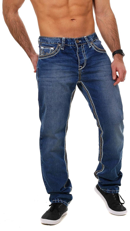 068ffeb5cab4 Amica Herren denim Jeans Hose straight leg gerade Passform vintage look mit  Kontrastnähte  Amazon.de  Bekleidung