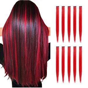 TOFAFA 22 inch Colored Hair Extensions straight Hairpiece,Multi-colors Party Highlights Clip in Synthetic Hair Extensions (10pcs Red)