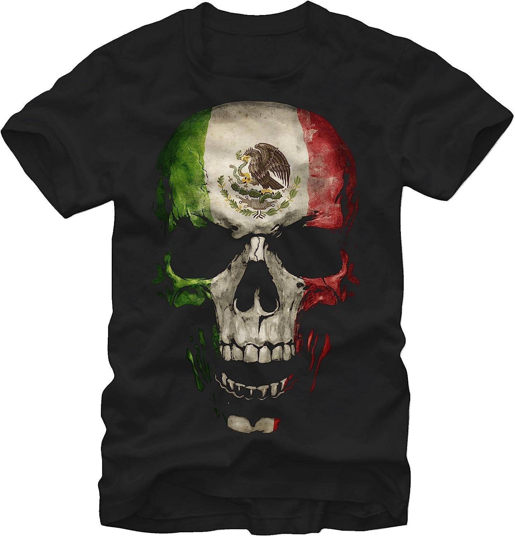 Aztlan - Camiseta para hombre, diseño de calavera con bandera mexicana - - Large: Amazon.es: Ropa y accesorios
