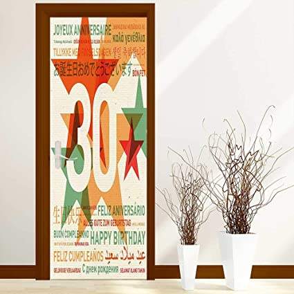 Stickers Home Door Decoration Decorations Happy Birthday Celebration In Different Languages From The World Multicolor For