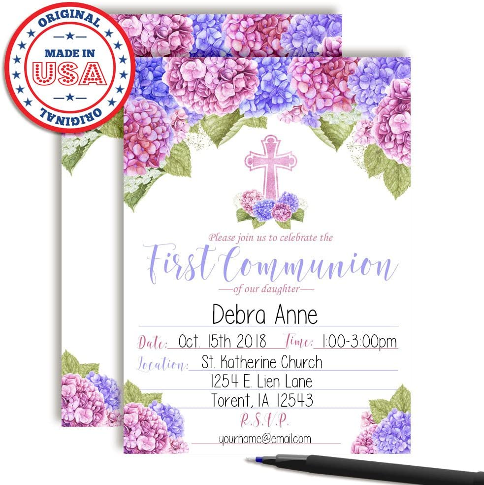 20 5x7 Fill in Cards with Twenty White Envelopes by AmandaCreation Watercolor Floral Hydrangea Baptism Invitations