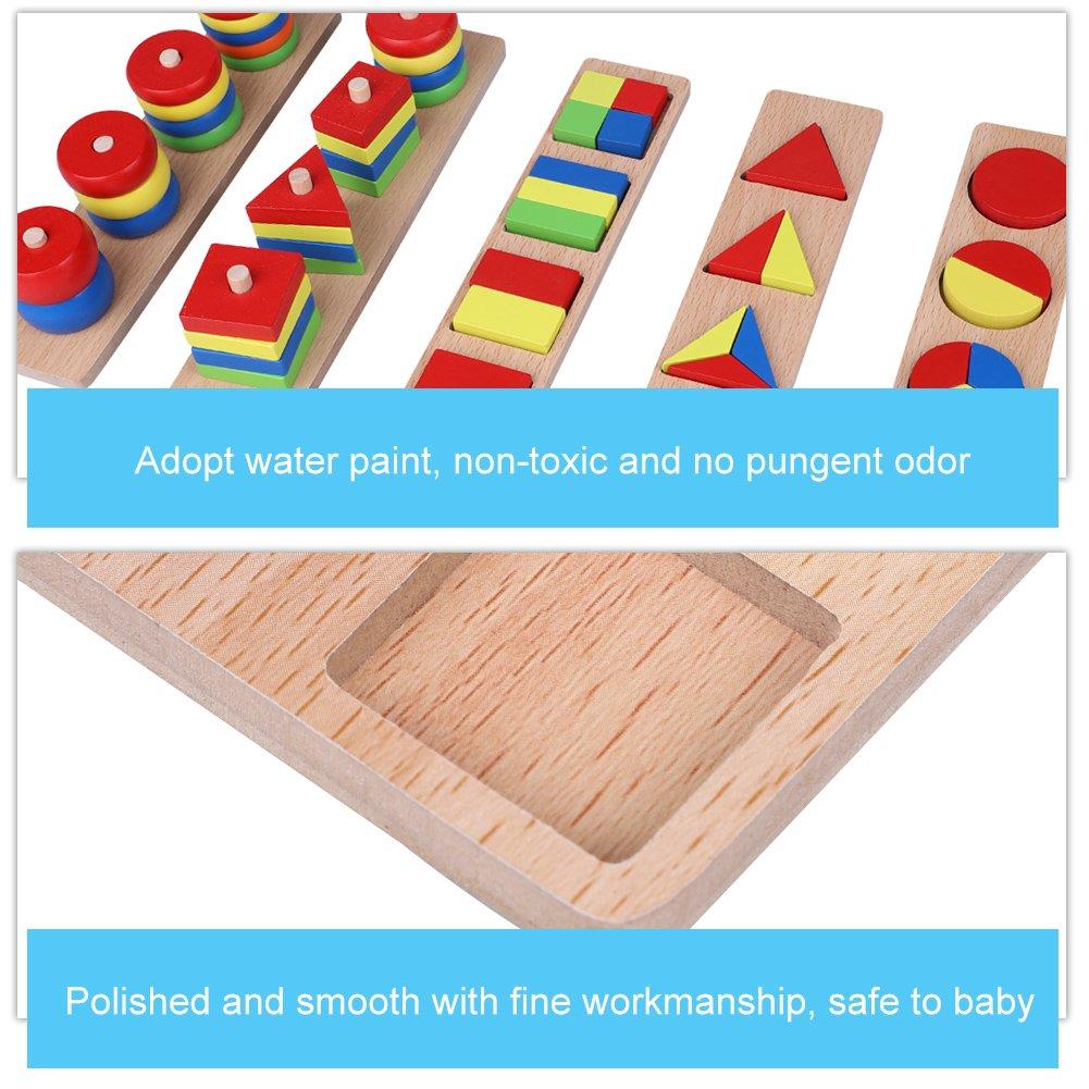 Zerodis 8pcs//set legno puzzle intellettuale blocco educativo precoce geometria forma edificio assemblaggio giocattolo di apprendimento