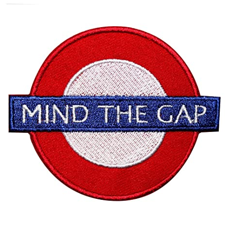 Mind The Gap chaqueta de hierro en parche bordado insignia ...
